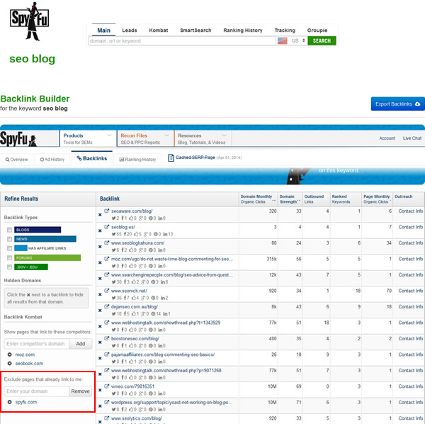 spyfu-backlink-builder-exclude-pages-that-link-to-me-already